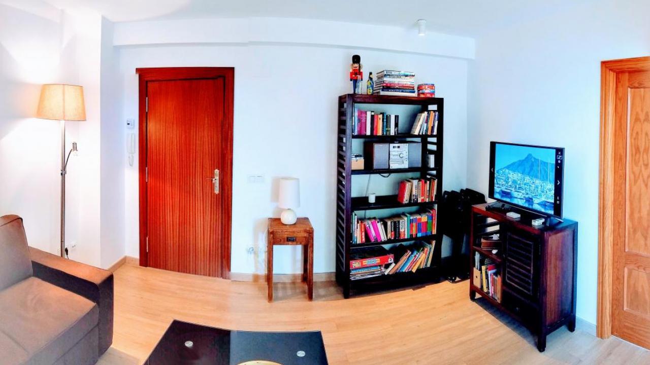 living room TV, book shelf
